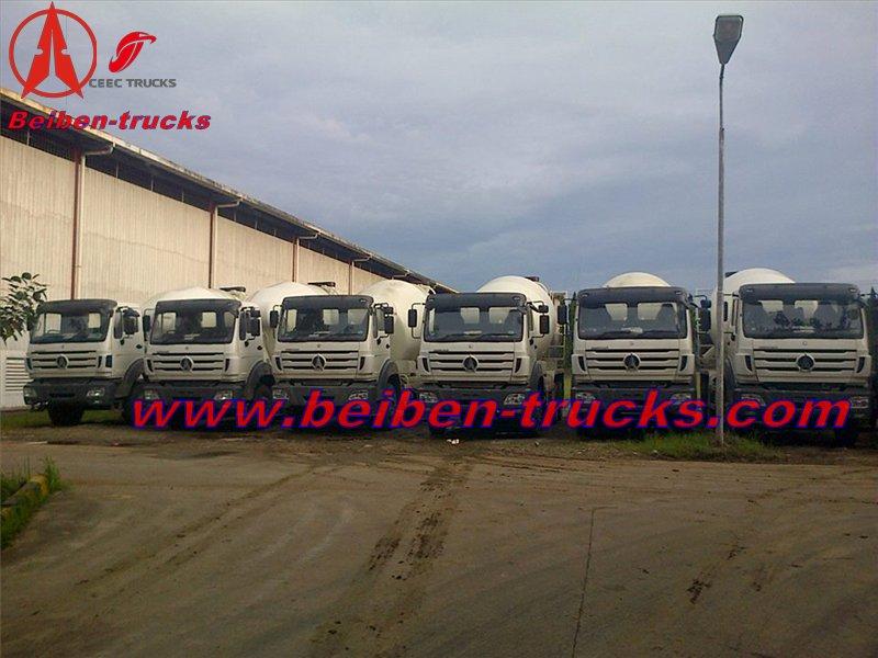 Indonesia customer order 25 unit beiben RHD 2534 concrete mixer truck and dump truck