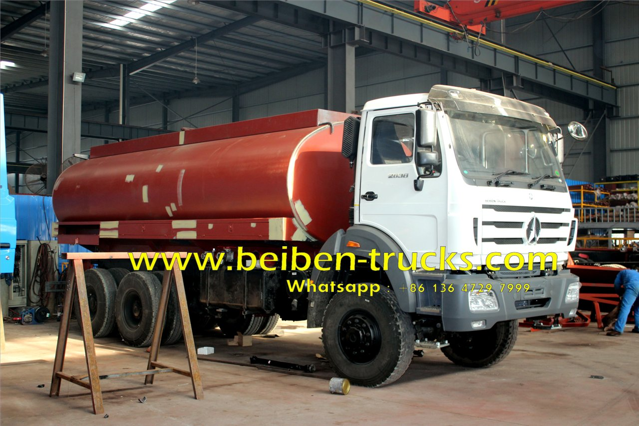 Beiben sprinkler truck 2638 6x4 water truck with 20 cubic tanker