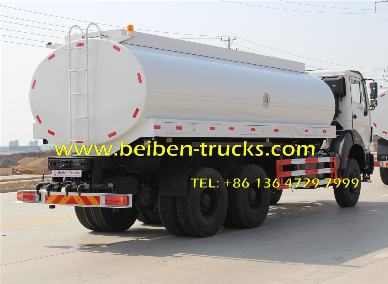 Beiben NG80 6x4 5000 gallon water tank truck 1. BEIBEN NG80 340HP 6X4 water tank truck 2. Flat roof cabin,single sleeper, auto-air conditioner Product Description Product BEIBEN POWERSTAR water tank truck Chassis model BEIBEN Chassis p
