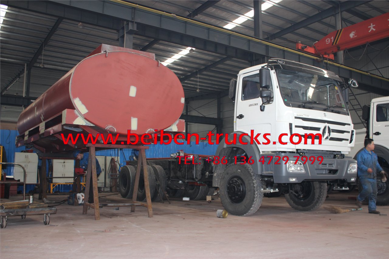 Product BEIBEN POWERSTAR water tank truck Chassis model BEIBEN Chassis parameters Overall dimensions mm 10415x2500x3340 Gross weight kg 25000 Kerb weight 12610 Rated payload 12260 Suspension F/R mm 1410/2505 Whee