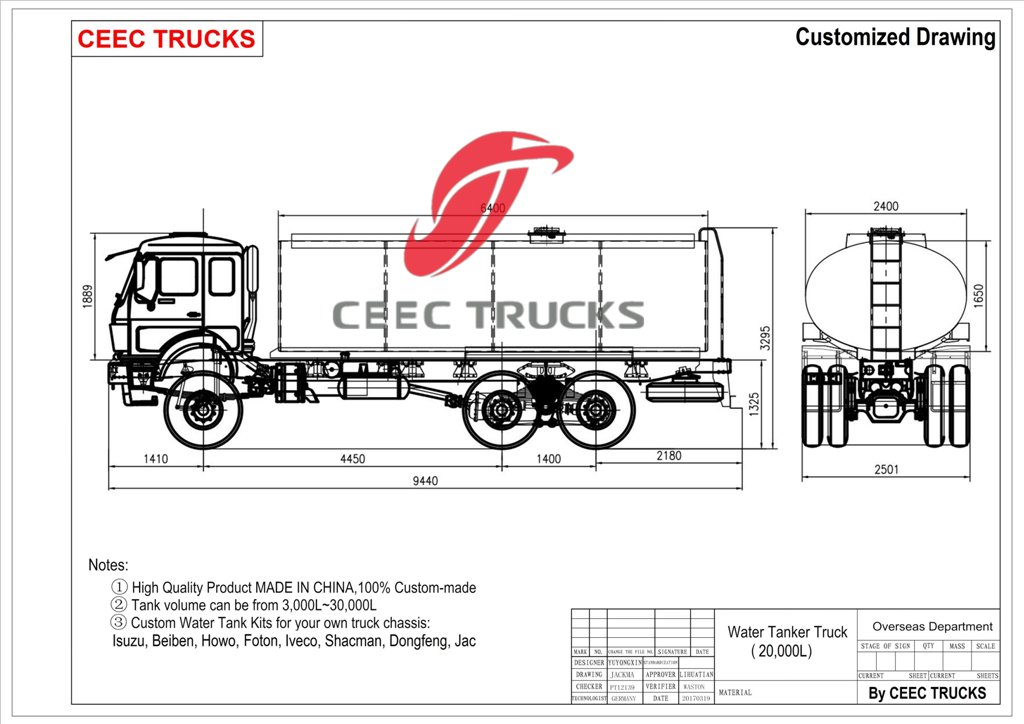 beiben water truck drawing