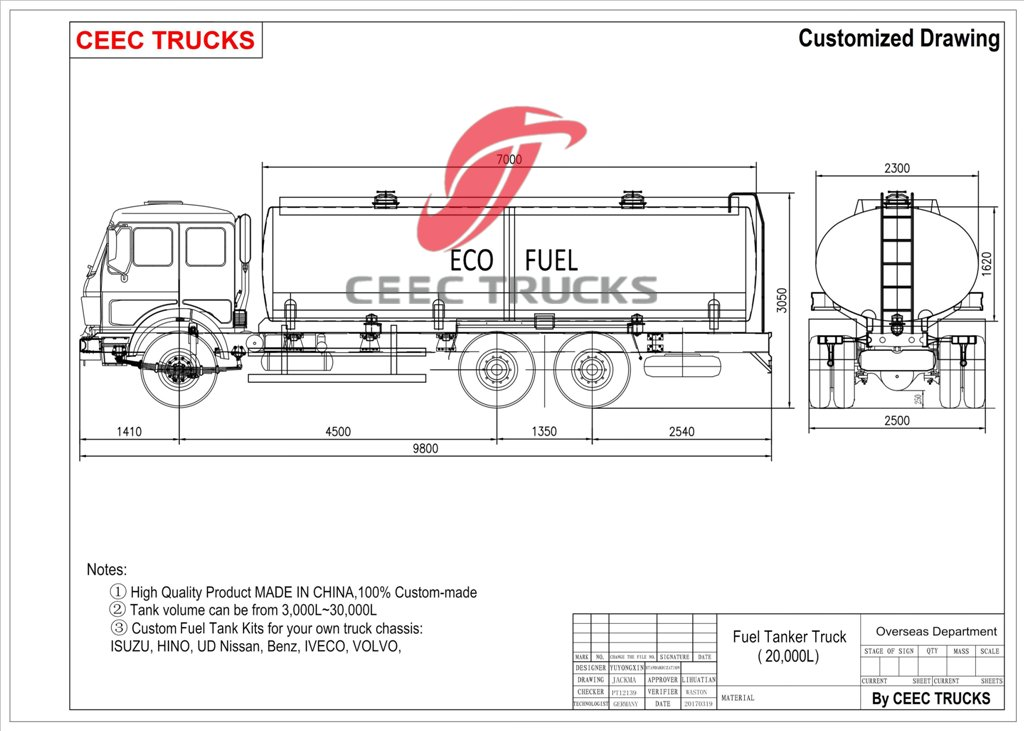 beiben fuel truck drawing