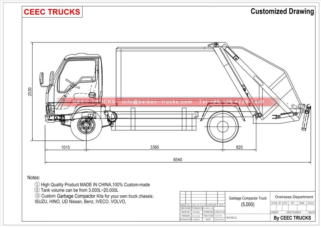 ISUZU garbage compactor truck drawing