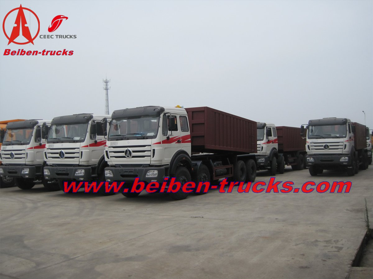 cheap price for beiben 8*4 drive dump trucks 380 hp engine