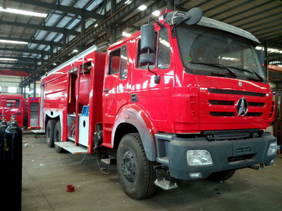 Beiben double cabin 2534 fire truck for dubai customer