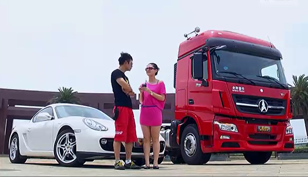 China beaudty girl drive beiben V3 tractor truck