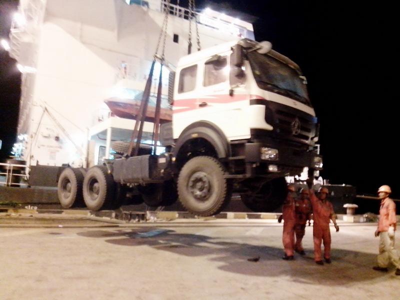 CONGO, Brazzaville customer order 20 units beiben tractor truck, bogie suspension semitrailer