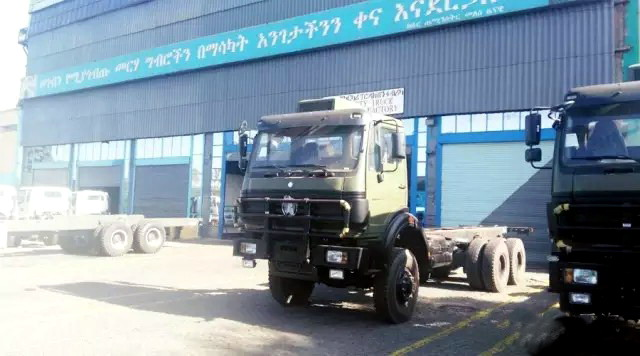 100 units beiben 4*4 truck SKD parts are exported to enthopian customer